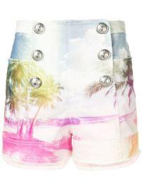 Balmain Printed Denim Shorts - Farfetch at Farfetch