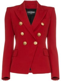 Balmain Red Double Breasted Virgin Wool Blazer at Farfetch