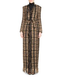 BalmainTweed Floor-Length Belted Cardigan with Fringe at Neiman Marcus