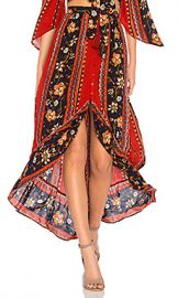 Band of Gypsies Bohemian Ruffle Skirt in Rust  amp  Navy from Revolve com at Revolve