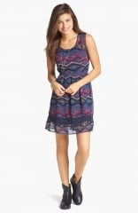 Band of Gypsies Lace Inset Print Fit andamp Flare Dress at Nordstrom