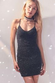 Bandeau Back Bodycon Shimmer Dress by Silence + Noise at Urban Outfitters