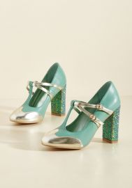 Banned Strut in the World T-Strap Heel in Seafoam at ModCloth