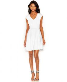 Bar III Cap-Sleeve Fit   Flare Dress  at Macys