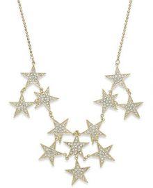 Bar III Gold-Tone Pav Stars Statement Necklace at Macys