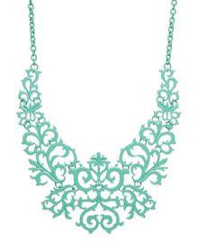 Bar III Mint-Tone Lace Design Bib Necklace at Macys