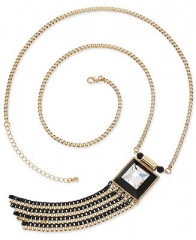 Bar III Necklace Gold-Tone Crystal Black Chain Tassel Necklace - Fashion Jewelry - Jewelry and Watches - Macys at Macys