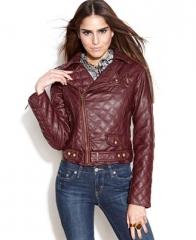 Bar III faux leather motocycle jacket at Macys