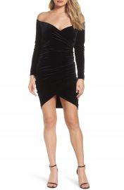 Bardot Alex Off the Shoulder Velvet Body-Con Dress at Nordstrom