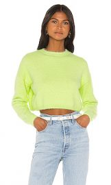 Bardot Cropped Fluffy Knit in Limelight from Revolve com at Revolve