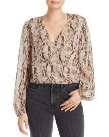 Bardot Snake-Print Faux Wrap Blouse - 100  Exclusive Women - Bloomingdale s at Bloomingdales