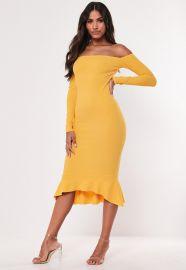 Bardot fishtail dress at Missguided