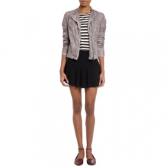 Barneys New York Faded Quilted Panels Leather Jacket at Barneys