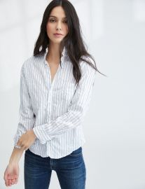 Barry Shirt in White Blue Multi Stripe at Frank & Eileen