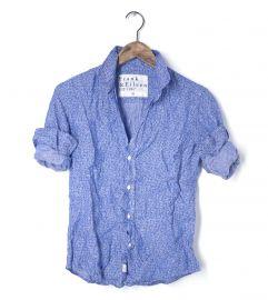 Barry shirt in blue floral linen at Frank & Eileen