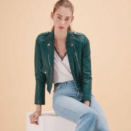 Bassou Leather Jacket by Maje at Maje