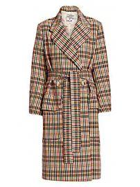 Baum und Pferdgarten - Deidra Checker Wrap Trench Coat at Saks Fifth Avenue