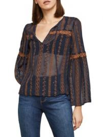 Bcbgmaxazria Embroidered sheer bell sleeve top at Saks Off 5th