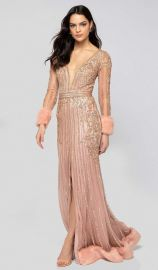 Bead Embellished Plunging Evening Gown by Terani Couture at Couture Candy