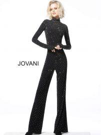 Beaded High Neck Long Sleeve Jumpsuit by Jovani at Jovani