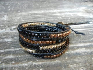 Beaded Leather Wrap Bracelet by Bracelets by betz at Etsy
