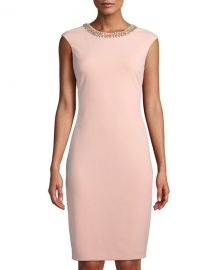 Beaded-Neck Sheath Dress Tahari ASL at Last Call