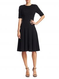 Beaded Sleeveless Crepe A-Line Dress at Saks Off Fifth