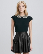 Beaded collar top by Alice and Olivia at Neiman Marcus
