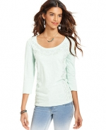 Beaded scoop neck tee by Lucky Brand at Macys