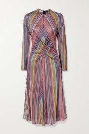 Beaufille - Aquila twist-front striped stretch jacquard-knit midi dress at Net A Porter