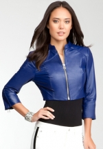 Bebe Cropped Zipper Leather Jacket in blue at Bebe