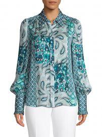 Beck Print Puff-Sleeve Silk Shirt at Saks Off Fifth