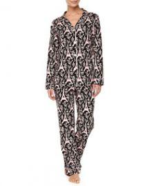 Bedhead Eiffel Tower-Print Piped Pajama Set BlackPink at Neiman Marcus
