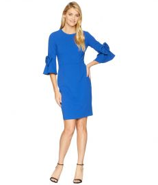 Bell Sleeve Crepe Shift Dress w/ Bow Detail at Wrist at Zappos