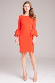 Bell Sleeve Dress with Lazer-cut Accents by Teri Jon at Teri Jon