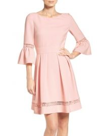 Bell Sleeve Fit  Flare Dress by Eliza J at Nordstrom