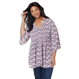 Bell Sleeve Pintuck Blouse at HSN