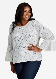 Bell Sleeve Zig-zag Cutout Sweater by Ashley Stewart at Ashley Stewart