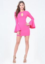 Bell sleeve bodycon dress at Bebe