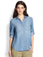 Bella Dahl - Denim Seamed Pocket Shirt at Saks Fifth Avenue