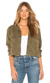 Bella Dahl Crop Military Jacket in Frosted Pine from Revolve com at Revolve