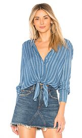 Bella Dahl Tie Front Shirt in Alamosa Indigo Stripe from Revolve com at Revolve