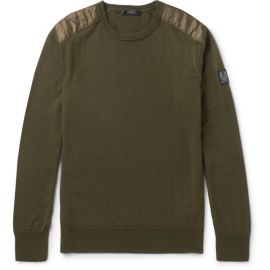 Belstaff Kerrigan Quilted Shell Trimmed Virgin Wool Sweater at Mr Porter
