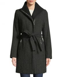 Belted Asymmetric Zip Tweed Coat at Last Call