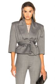 Belted Cropped Blazer by Carmen March at Forward