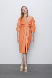 Belted Faux Leather Dress by Zara at Zara