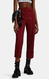 Belted Houndstooth Tweed Cuffed Crop Trousers at Barneys