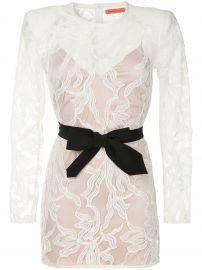 Belted Lace Mini Dress by Manning Cartell at Farfetch