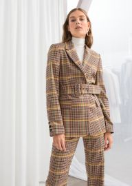 Belted Plaid Blazer at & Other Stories