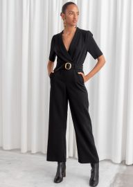 Belted Plunging Jumpsuit at & Other Stories